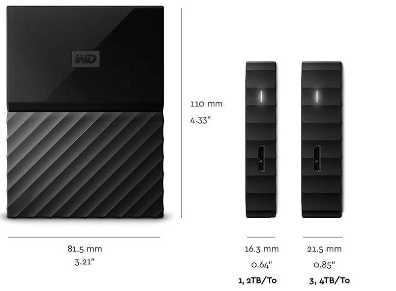 WD - My Passport - Disque dur externe portable USB 3.0 avec sauvegarde automatique et sécurisation par mot de passe